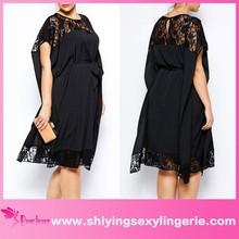 Cheap Wholesale Black Lace Accent Kimono-style Plus Size women sex evening dress