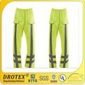 Amarillo fluorescente retardante de llama pantalones a prueba de agua pantalones ropa de trabajo, muchas clases de colores flouresceina ropa