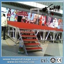 Mobile portable plywood platform aluminum stage