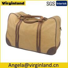 6827 Nice Design Large Khaki Day Pack Canvas Tote Shoulder Overnight Travel Bag for Men
