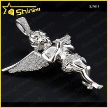 Micro Pave Simulated Diamond Praying Cherub Sterling Silver Pendant Gold Finish
