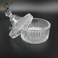 redonda de vidrio transparente de alimentos frasco con tapa de vidrio
