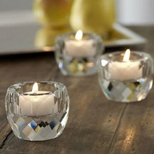 Wedding Decor Tea Light Candle Holder , Small Glass Candle Holder