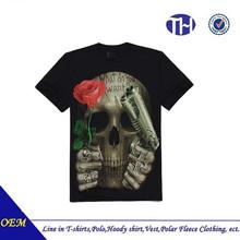 2015 Fashional horrible skulls cool rock 3d printing t-shirt