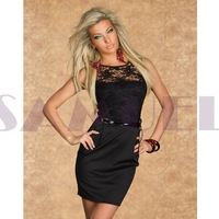 h9031 sexy black lace ladies casual dresses pictures with waist belt