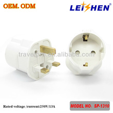 Factory Direct High Quality AC Use Full CE & RoHS UK to EU plug Adapter