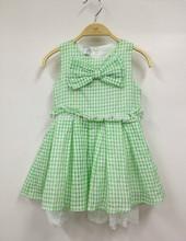 New design sleeveless cotton plaid dresses apparel for girls