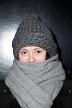 Ladies custom made wool cashmere and acrylic knitted grey thick beanie and fitted scarf set