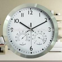 Fashion Beautiful Aluminum Wall Clock with Temperature and Humidity