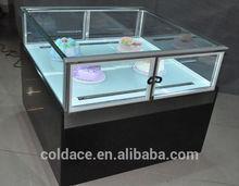 Glass top display for Small Chocolate Refrigerator Island
