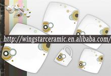 modern japanese ceramic dinnerware/Gold design square porcelain tableware/royal ceramic dinner set square