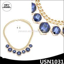 gold plating statement korea amethyst necklace