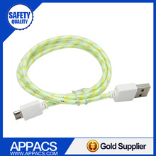 New design braided fabric with rubber cover mini usb cable for samsung