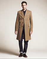 100% cotton, warm camel, custom tailored mens coat for winter