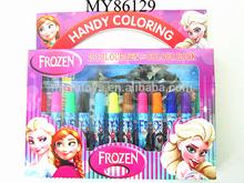 12pcs colors water color pen with frozen doll design color book