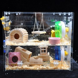 2 tiers acrylic hamster cage with doors