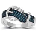 yiwu aceon acero inoxidable tdw azul y blanco de diamantes anillo de la hebilla