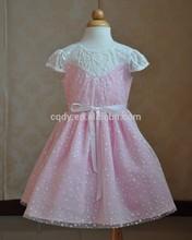 2015 Latest design summer new model children dress/short sleeve lace dress for kids/girls' snowflake pattern dress