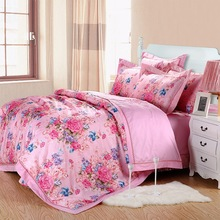Factory outlet wholesale price fashion embroidery design luxury style 4pcs queen king size hand embroidered bed sheet