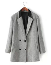 Europe And The United States Women's New Winter European Wool Double-Breasted Coat Coat