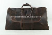 Oversized Dark Brown Genuine Leather Weekend Travel Bag