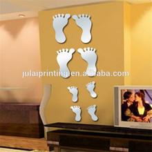 Decor 3D Feet Mirror Wall Stickers /Self Made Home Decoration Acrylic Mirror Wall Stickers
