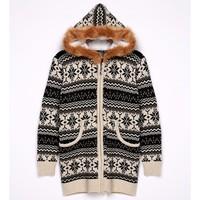 New knitwear warm winter hooded cardigan new model coat women 2013 CB031963