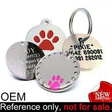 fashion promotional waterproof pet id custom metal round dog tag