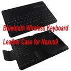 Black 2 in 1 Hybrid Wireless bluetooth keyboard and Leather Case Cover for Nexus 9