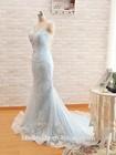 Real Bride Dress Floor Length Lace Overlay See Through Back Fishtail Mermaid Light Blue Wedding Dress