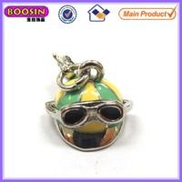 3D metal charm helmet with glasses decoration #17190