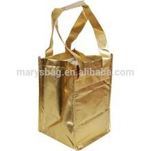 4 Bottle Metallic Wine Tote Bag with velcro closure