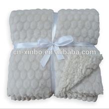 Hot sale various design circle pattern embossed coral fleece sherpa blanket