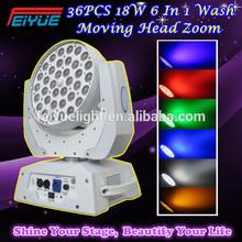 New Hot Cheap Moving Head 36pcs 18W RGBWA+UV LED Wash Zoom Light