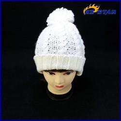 HZM-12225004 warmer top ball knitted ladies white beanie cute cheap hats