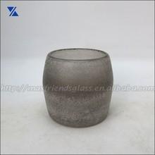 salt blasted glass candle holder