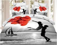 3d scenery sandy beach balloon lovers custom cotton bed set duvet cover