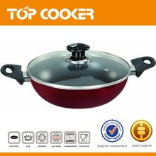 24cm Press aluminum non stick indian kadai with lid