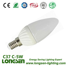 C37 5W E14 380lm ceramic led light candle with ceramic housing
