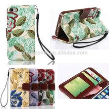 elegant flower pattern wallet leather case for iphone 5, for iphone 5s case leather