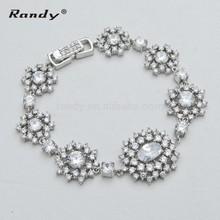 Fancy Zircon And Crystal Flower Shape Bracelets
