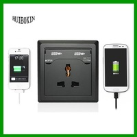 Black Dual USB Port New Electric Wall Charger Station Socket Adapter Power