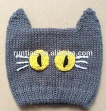 Hot Selling Soft Acrylic Knitting Kid's Cartoon Imitate Animal Cat Hat