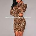 2015 sexy leopardo de impresión de manga larga cuello alto club vestido de noche