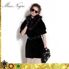 Short sleeve fur collar women black cropped fur jacket