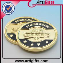 Gold plated metal casino anniversary coinschips