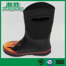 confortável preto e fogo impresso borracha neoprene botas de pesca