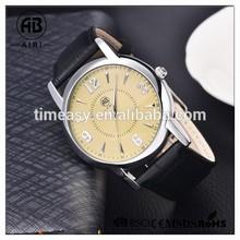 2015 new Quartz wrist watch with leather strap Japan movement