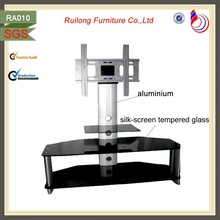Modern design crystal glass tv table plasma lcd tv stand RA010