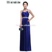 Banquet Dress Halter 2015 Evening Bandage Dress Rhinestone Royal Blue Beaded Evening Dress